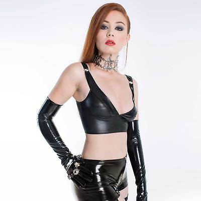 PATRICE CATANZARO Elisabeth Top Wetlook Bustier mit Lack PVC Vinyl Crop Top Hot