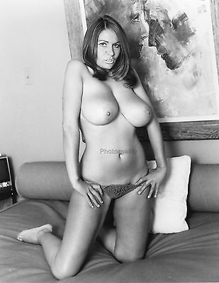 60s Uschi Digard nude kneeling on a bed unmatchable breasts 8 x 10 Photograph