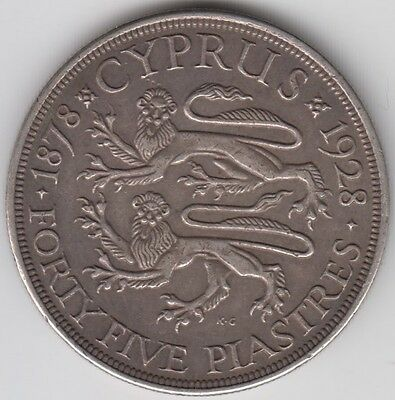 Coin 1928 Cyprus silver 45 piastres King George V issue in very fine condition
