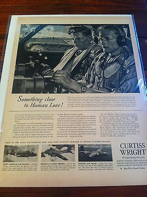 Vintage 1943 Curtiss Wright Wounded B-17 Safely Home WW II Print ad