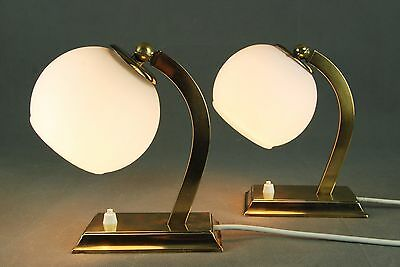 Pair of Mid Century Brass & Glass Bedside Art DECO Vintage 60s 40s 1950s Era