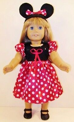 """Doll Clothes Red Minnie Mouse Outfit Costume Fits American Girl Doll, 18"""" Dolls"""