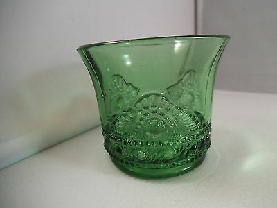 Vintage EAPG Green US Glass Lacy Medallion Toothpick Holder