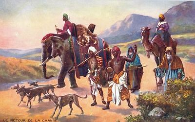 Old Postcard PC Tuck's Oilette Italian Greyhounds in India Tiger Hunt Dogs c1910