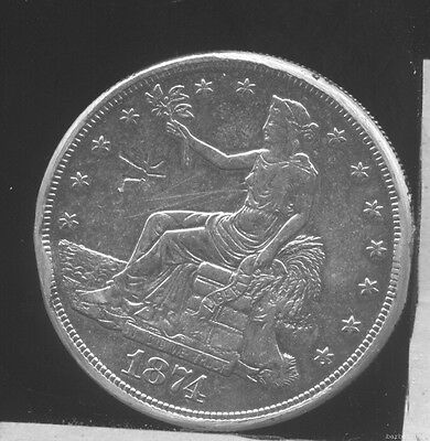 1874S Seated Liberty TRADE Silver Dollar. XF-AU. Cleaned, chopmarked, edge bumps