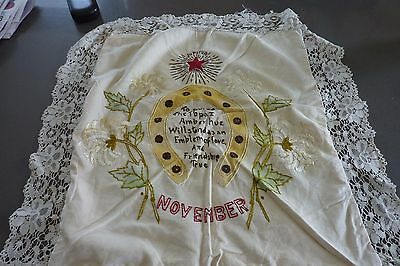 Antique Vintage Arts And Crafts Craftsman Era Embroidered Pillow Cover Linen