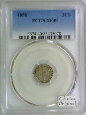 1858 Three Cent Silver PCGS XF-40; Choice Original