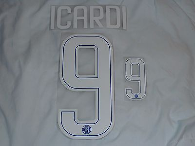 ICARDI 9 Milan Home Iron On Name & Number Set For Football Shirt / Jersey