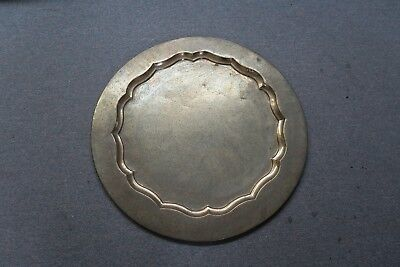 """Vintage 29"""" Round Etched Brass With Enamel India Tray Table Top Indo Persian"""