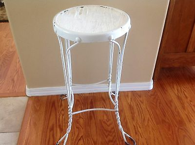 Vintage Ice Cream Parlor Stool Twisted Wrought Iron Plant Stand