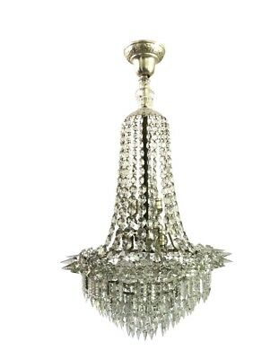 Antique Beidermeier Crystal Spear Prism Basket Tiered Nickel Chandelier Rare