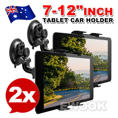 2X Car Windscreen Suction Mount Holder For iPad Mini Pro Samsung Tablet PC 7-12""