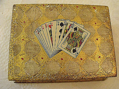 "Vintage HTF Italian Florentine Pr Card Decks Gold Gild Wood Storage Box 7""x5""x2"""