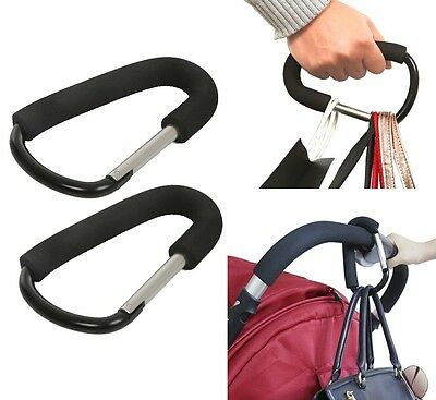 Stroller Bag Diaper Purse Hooks Strong Hanger for Shopping Groceries - 2 Packs