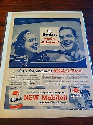 Vintage 1946 Mobiloil Oh, Brother What A Difference Print ad