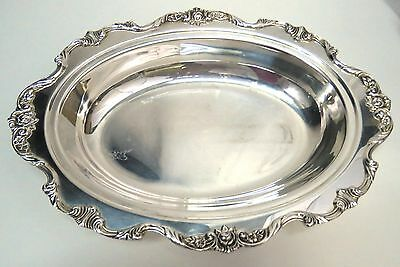 """Vintage Wallace SilverPlate ROYAL ROSE 12"""" Oval Vegetable Dish 9801 (112)"""
