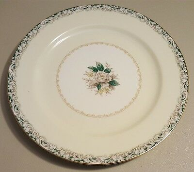 Noritake MYSTERY 14 Pattern White Rose Leafy Band Dinner Plates Set of 4
