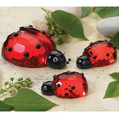 CRYSTAL Ladybugs Figurine Set Of 3 Good Luck Last Set deluxe COLLECTOR NEW