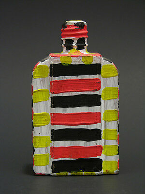 August Walla Painted Striped Bottle Gugging House of Artists 1980s-90s Art Brut