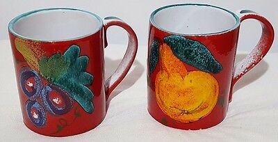 """Set of 2 Made in Italy Red Coffee Mugs Cups With Fruit 12 Oz 4"""" Tall"""