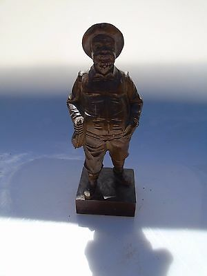 Antique Carved Black Forest Treen Wooden Old Man Figure Ornament