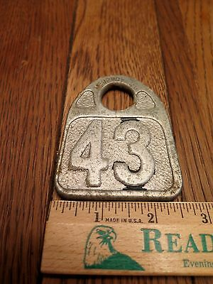 Vintage Large Two-sided Tag for Cow #43, Newport, KY