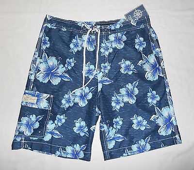 NWT Men's CHAPS Board Short Swimwear~$50~Blue Floral~Polyester~Size Med