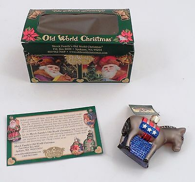 MWT Merck Family Old World Christmas Glass Democratic Donkey Political Ornament