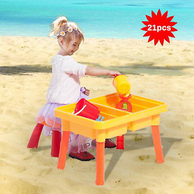HomCom Kids Sand and Water Table Chair Set W/ Beach Play Set Children Toys 21pcs