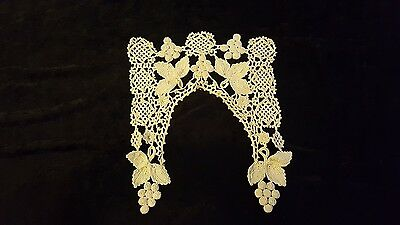 Vintage antique Hand crocheted lace collar doily Grapes unusual