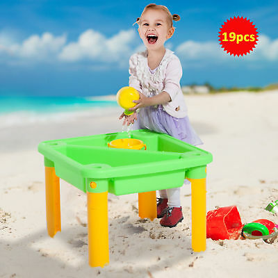 HomCom Kids Sand and Water Table Chair Set W/ Beach Play Set Children Toys 19pcs