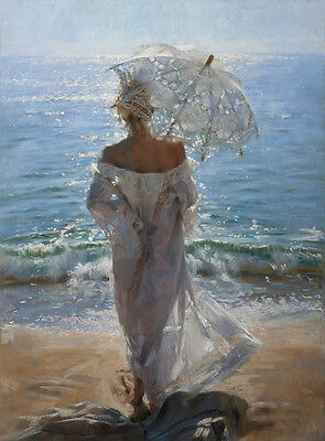 Wall Art Deco Umbrella girl at the beach oil painting HD printed on canvas L1454