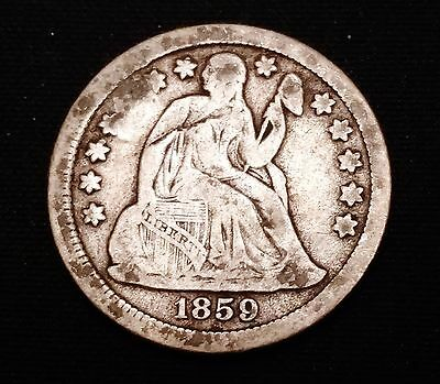 1859 Seated Liberty Dime - Low Mintage Fine Coin