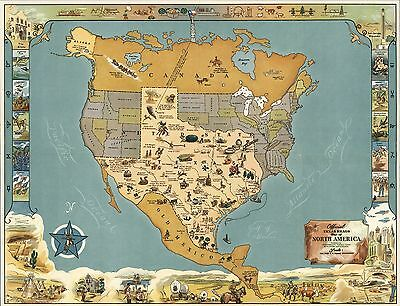 Texas Brags Map of North America 1948 pictorial map Official POSTER 8826002