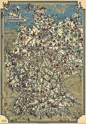 1928 pictorial map The Schoene railway travel Germany POSTER 8850000