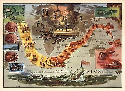 Moby Dick by Herman Melville 1956 PICTORIAL map Voyage of the Pequod POSTER 8962