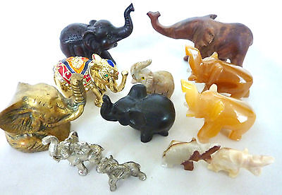 Variety Elephant Figurines; Crystal, Stone, Wood, Brass; See Indiv Pics; Gold