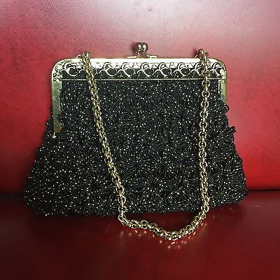 Vintage Black & Gold Evening Bag Handbag Clutch Purse Gold Chain Strap & Mirror
