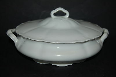 Syracuse OP CO Plymouth Embossed White Round Covered Vegetable Bowl