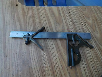 LUFKIN 12'' COMBINATION SQUARE 3PC TEMPERED No.7 GRAD VINTAGE MACHINIST TOOL USA