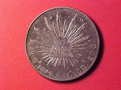 MEXICO 8 REALES SILVER CROWN 1894-Cn A.M. CAP & RAYS TYPE FEW LIGHT CHOPS