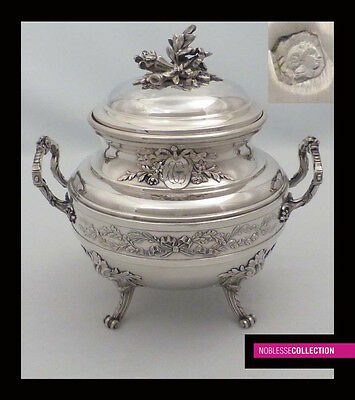 AMAZING ANTIQUE 1880s FRENCH STERLING SILVER & VERMEIL SUGAR BOWL Louis XVI st.