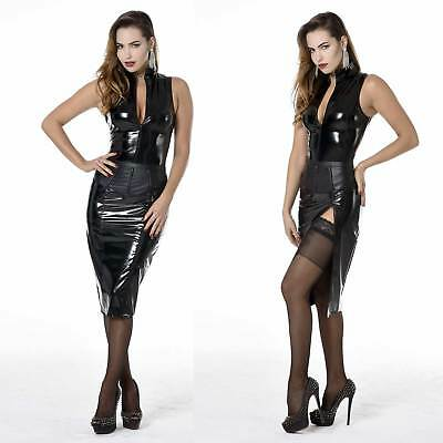 PATRICE CATANZARO Ruby Lackrock mit RV und Schlitz Vinyl PVC Skirt w. Zip Slash