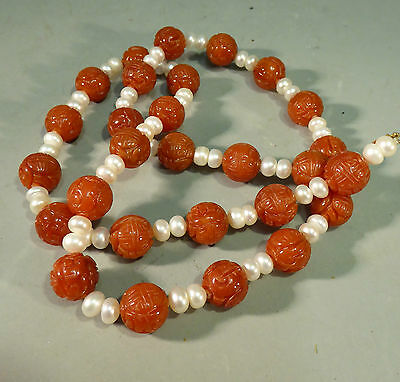 Chinese Carved Shou Beads Necklace - Carnelian Pearls & 14k Gold Very Fine Agate