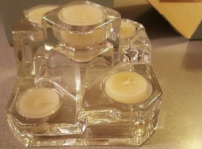 Partylite Crystal Castle 5 Tea Light Candle Holder With Box Never Used