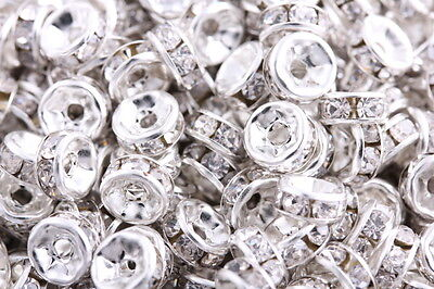 50 Pcs Silver Plated Crystal Rondelle Spacers Beads Charms Jewelry Findings 8mm