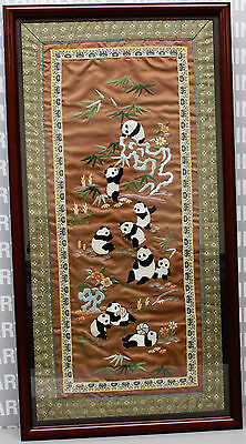 Sweet Framed 27x14 Chinese Silk Embroidery w/Frolicking Panda Bears