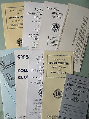 7 Old 1940's Lions Club Brochures Pamphlets