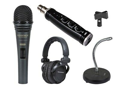 Monoprice Podcast Bundle Dynamic Microphone with headphones and accessories