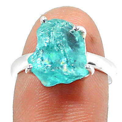 Aquamarine Rough 925 Sterling Silver Ring Jewelry s.7 RR57968
